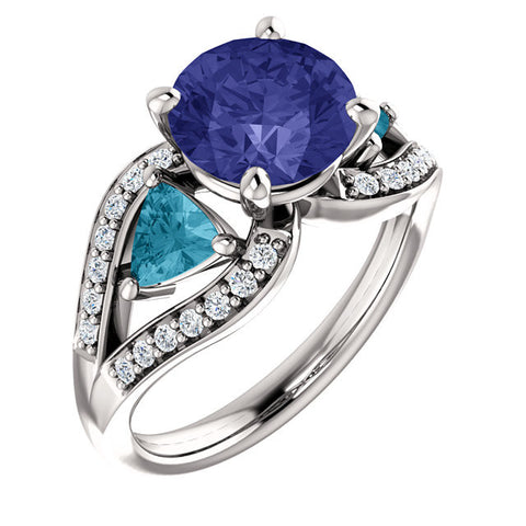 Ring > Diamond > CTW > 1/Aquamarine & 1 > Sapphire, > Blue > Created > Chatham®