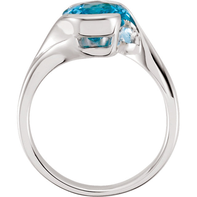 Ring > Topaz > Blue > Swiss > Checkerboard > 10x8mm