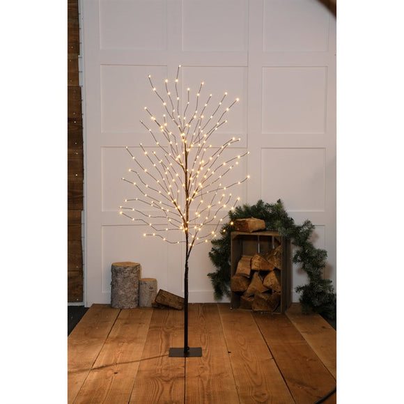ANTIQUE WHITE LED WISPY BLACK TREE