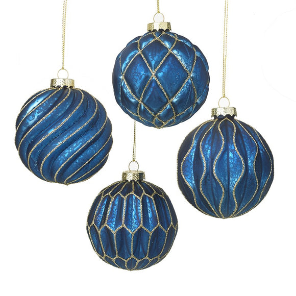 Blue & Gold Glass Baubles