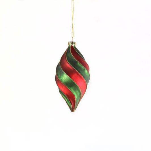 Red / Green Candy Swirl Glass Drop