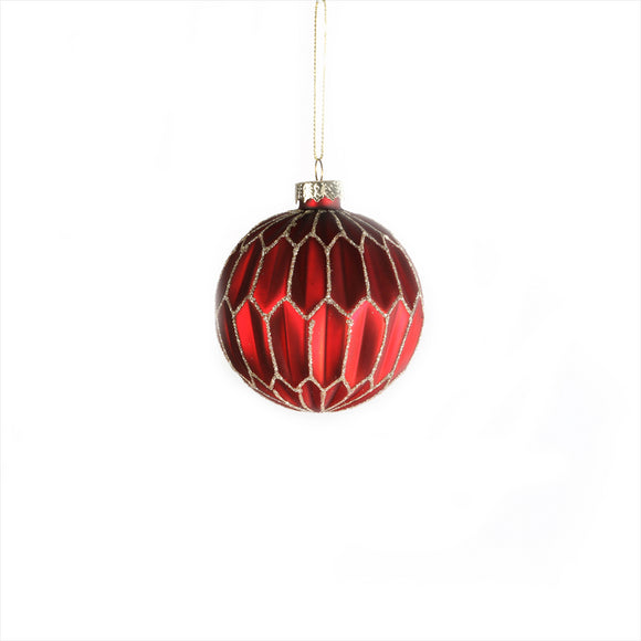Red/Gold Geometric Glass Bauble