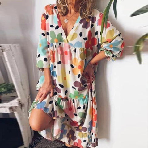 Vittyi Fashion Loose V-Neck Long Sleeve Printed Vacation Dress