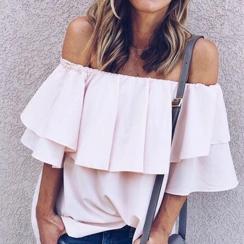 Vittyi Gentle Soft Breeze Frilling Off-Shoulder Top In Pink