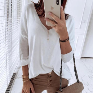 Vittyi Fashion Solid Color V-Neck Long Sleeve Loose Casual Tee
