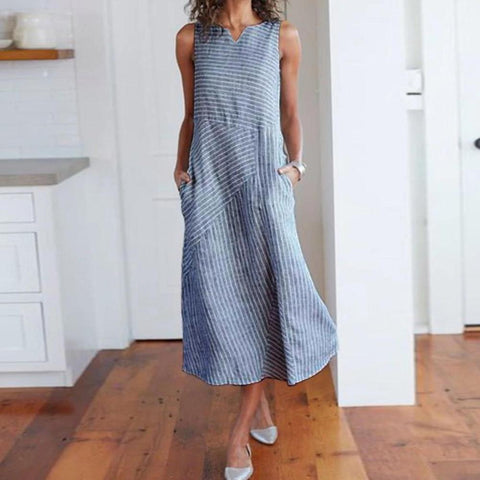 Vittyi Simple Stripe Printed Round Neck Sleeveless Loose Pocket Midi Dress