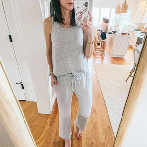 Vittyi Casual Grey Round Neck Sleeveless Top Two-Piece Set