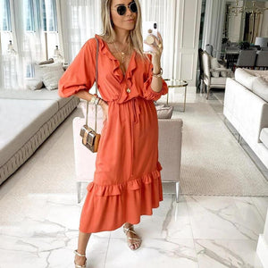 Vittyi Fashion Orange V-Neck Long Sleeve Ruffle Splice Midi Dress