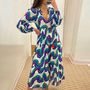 Vittyi Elegant V-Neck Long Sleeve Printed Vacation Dress