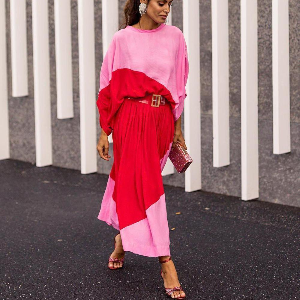 Vittyi Batwing Sleeve Color Block Maxi Dress