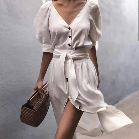 Vittyi Fashion Temperament White V-Neck Short Sleeve Slim Fit Midi Dress