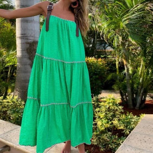 Vittyi Green Ruched Pleated Sleeveless Midi Dress