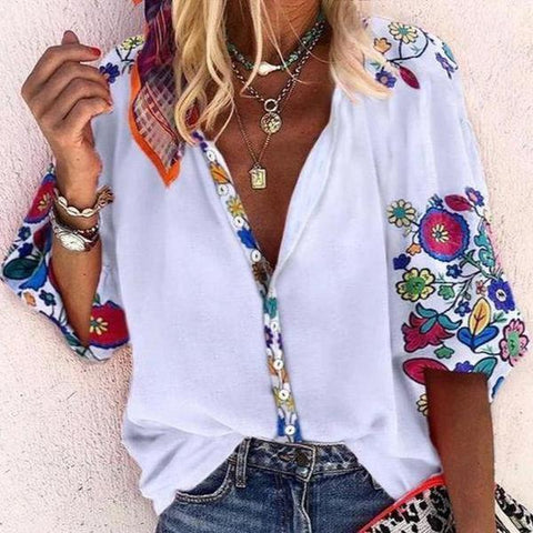 Vittyi Floral Print Buttoned Casual Loose Blouse