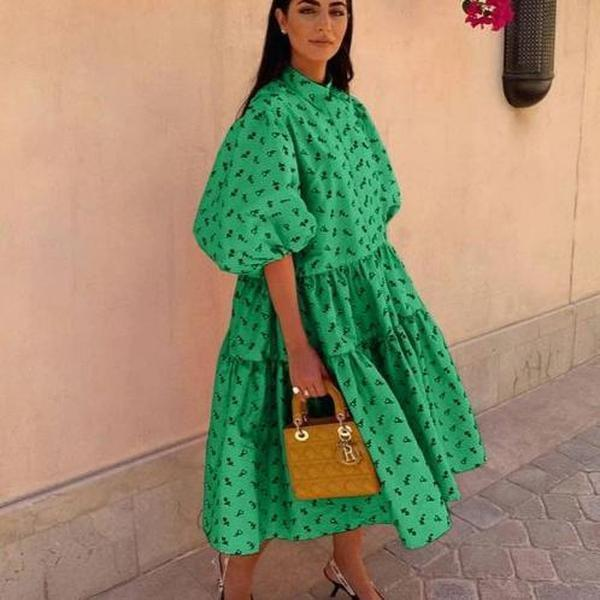 Vittyi Balloon Sleeve Print Midi Dress In Green