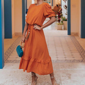 Vittyi Glamorous Orange Short Sleeve Midi Dress