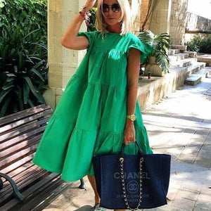 Vittyi Ruched Short Sleeve Loose Green Midi Dress