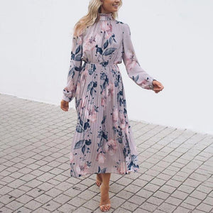 Vittyi Elegant Long Sleeve Mock Neck Floral Midi Dress