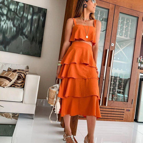Vittyi Vintage Orange Spaghetti Straps Top And Ruffle Midi Dress Two-Piece Dress