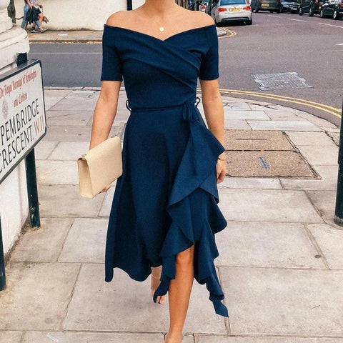 Vittyi Navy Off The Shoulder Asymmetric Midi Party Dress