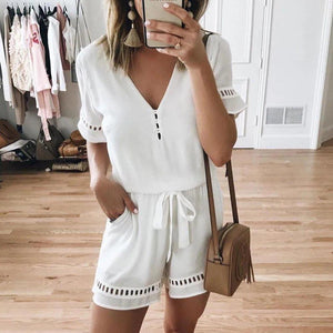 Vittyi Fashion Solid Color V-Neck Short Sleeve Casual Jumpsuit