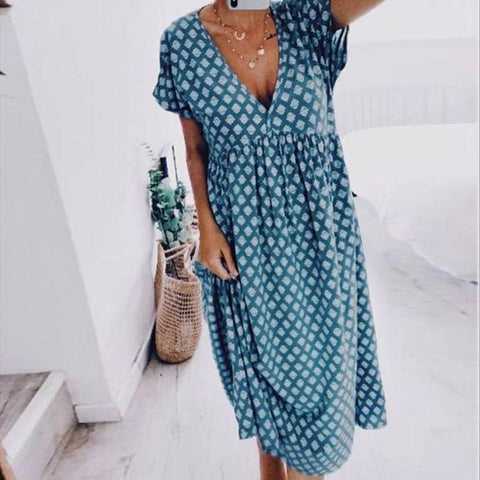Vittyi Geometric Printed Casual V-Neck Midi Dress