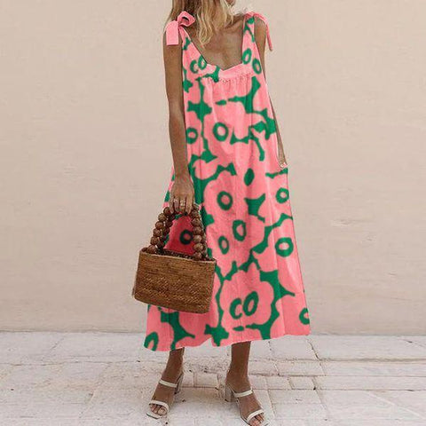 Vittyi Fashion Pink Sleeveless Sling Printed Loose Midi Dress