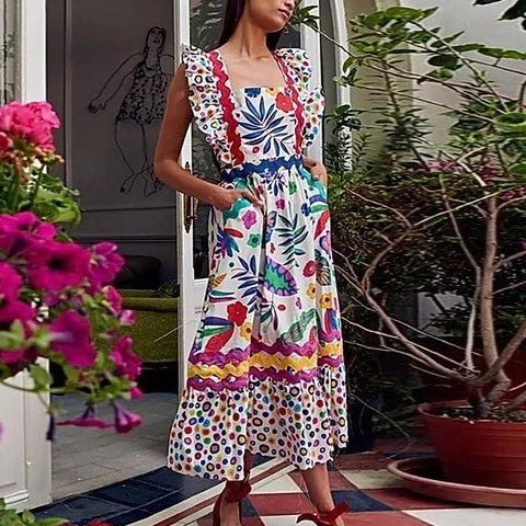 Vittyi Print Sleeveless Multicolor Midi Dress