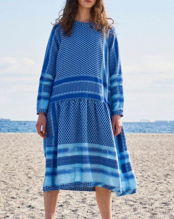 Vittyi Blue Printed Round Neck Long Sleeve Loose Beach Dress
