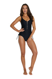 Ribtide High Neck Zip One Piece