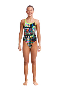 GIRLS SIZE 8 Diamond Back One Piece (Colours Available)