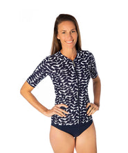 Load image into Gallery viewer, Ladies Blue Acacia Short Sleeve Rashie