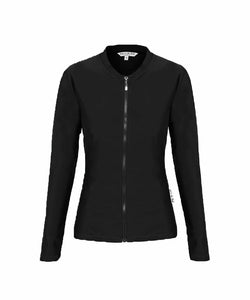 Ladies Plain Black Long Sleeve Rashie