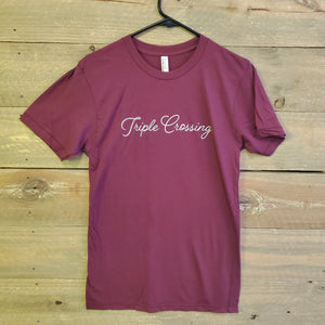 Load image into Gallery viewer, Maroon Script Tee with ⟁