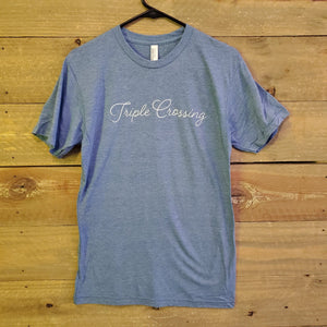 Light Blue Script Tee with ⟁