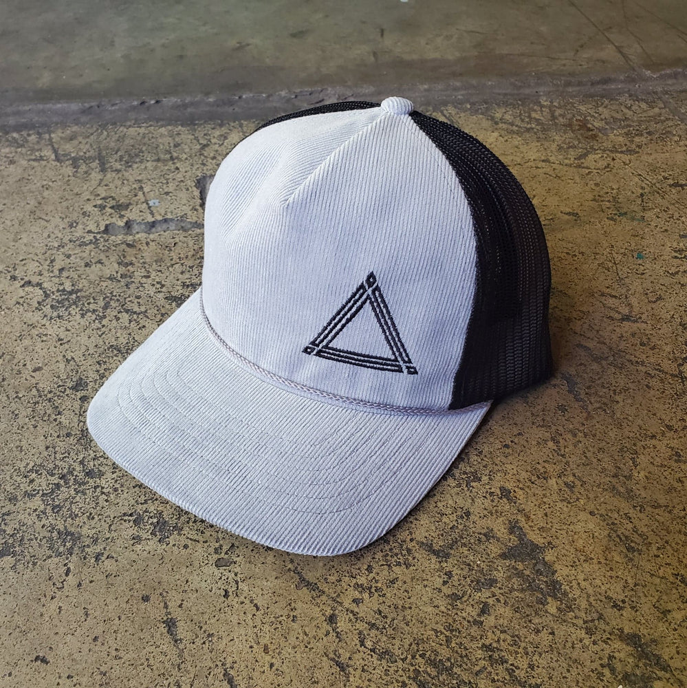 Heather Grey and Black Triangle Mesh Hat