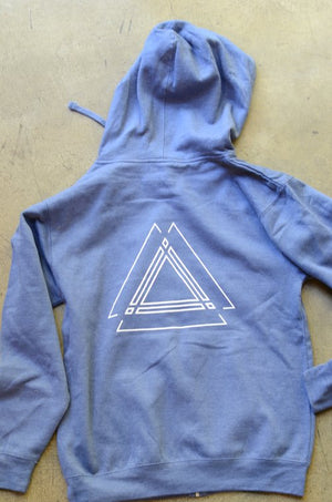 Load image into Gallery viewer, Heather Blue Triangle Hoodie Sweatshirt