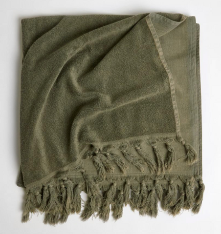 Vintage Wash Cotton Bath Sheet - Olive