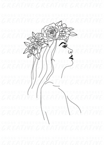 Girl with Flower Crown | A3 Print