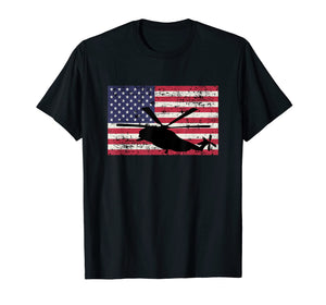 Patriotic CH-53 and MH-53 helicopter American flag t-shirt