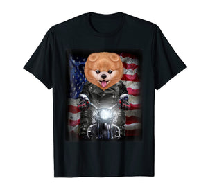 Funny shirts V-neck Tank top Hoodie sweatshirt usa uk au ca gifts for Pomeranian Dog on Motorbike with Flag of USA - T-Shirt 3386457