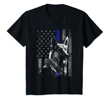 Load image into Gallery viewer, Thin Blue Line Flag K9 Shirt German Shepherd Police Dog Gift