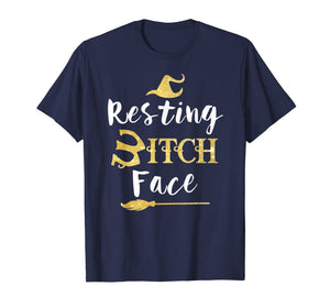 Resting Bitch Face Halloween Witch And Broom Witch T-Shirt