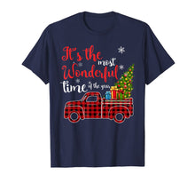 Load image into Gallery viewer, Red Plaid Truck and Christmas Tree Light-Truck Christmas T-Shirt