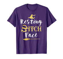 Load image into Gallery viewer, Resting Bitch Face Halloween Witch And Broom Witch T-Shirt