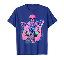 Load image into Gallery viewer, Spooky pink skeleton in a suit Steampunk design 4 Halloween T-Shirt