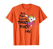 Load image into Gallery viewer, Rock paper scissors throat punch I win unicorn T-Shirt