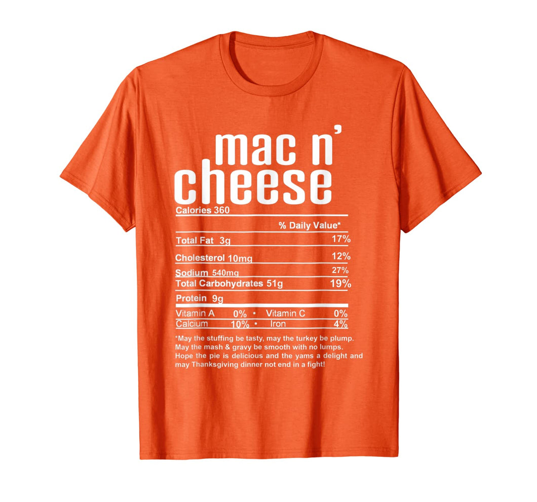 Thanksgiving Mac N Cheese Nutritional Facts T-Shirt