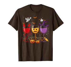 Three Glasses Of Wines Shirt Funny Halloween Wine Lover T-Shirt