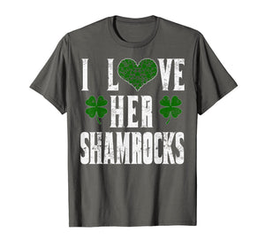 Funny shirts V-neck Tank top Hoodie sweatshirt usa uk au ca gifts for I Love Her Shamrocks Funny Couples St Patricks Day T Shirt 1424114