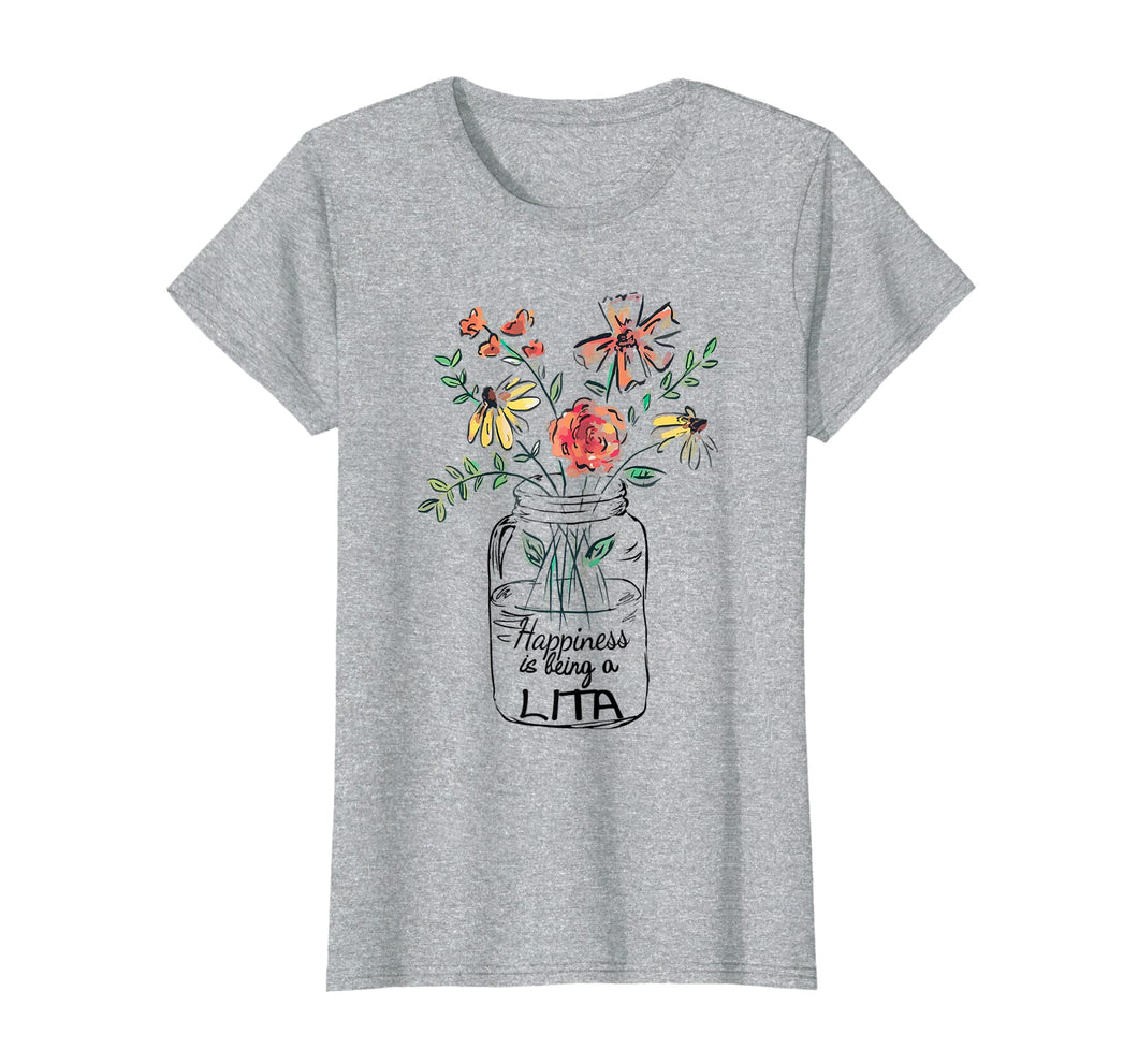 Funny shirts V-neck Tank top Hoodie sweatshirt usa uk au ca gifts for Womens Happiness Is Being Lita Life - Flower Art-Grandma Tee 1129434